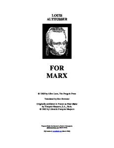 For Marx