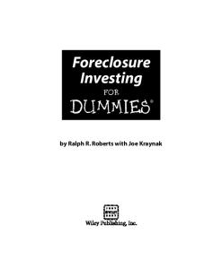 Foreclosure Investing For Dummies (For Dummies (Business & Personal Finance))