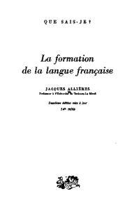 Formation de la langue francaise