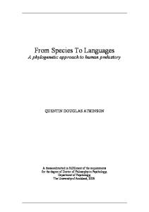 From Species To Languages. A phylogenetic approach to human prehistory