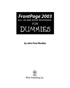 FrontPage 2003 All-in-One Desk Reference For Dummies (For Dummies (Computer Tech))