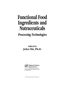 Functional Food Ingredients and Nutraceuticals Processing Technologies