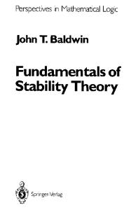 Fundamentals of Stability Theory (Perspectives in Mathematical Logic)
