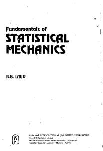 Fundamentals Of Statistical Mechanics