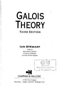 Galois Theory, Third Edition (Chapman Hall CRC Mathematics Series)