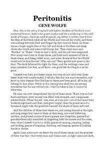 Gene Wolfe - Peritonitis