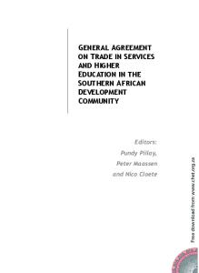 General Agreement on Trade in Services and Higher Education in the Southern African Development Community