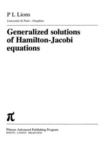 Generalized Solutions of Hamilton-Jacobi Equations