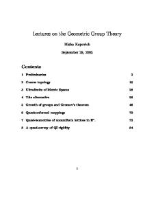 Geometric Group Theory 001