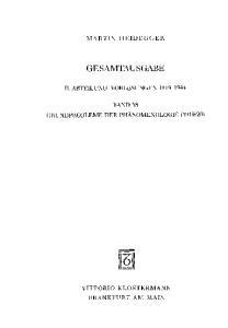 Gesamtausgabe. 4 Abteilungen: Gesamtausgabe 2. Abt. Bd. 58: Grundprobleme der Phänomenologie (Wintersemester 1919 20)