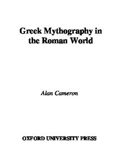 Greek Mythography in the Roman World