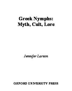 Greek Nymphs: Myth, Cult, Lore