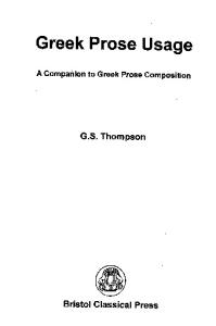 Greek prose usage : a companion to Greek prose composition