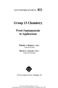 Group 13 Chemistry: From Fundamentals to Applications
