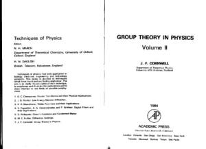 Group Theory in Physics, Vol. 2 (Techniques of Physics Series)