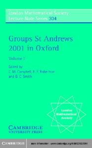 Groups St Andrews 2001 in Oxford, Vol 1
