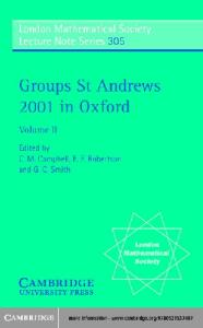 Groups St Andrews 2001 in Oxford, Vol 2