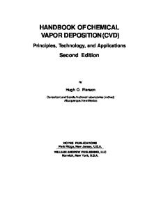 Handbook of Chemical Vapor Deposition, Second Edition : Principles, Technologies and Applications (Materials Science and Process Technology Series)