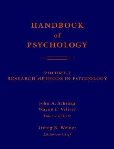 Handbook of psychology. Research methods in psychology