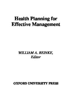 Health Planning for Effective Management