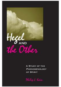 Hegel And The Other: A Study Of The Phenomenology Of Spirit (Suny Series in Hegelian Studies)