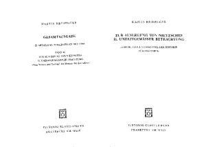 Heidegger - Gesamtausgabe. Bd. 46: Zur Auslegung von Nietzsches II. Unzeitgemäßer Betrachtung ''Vom Nutzen und Nachteil der Historie für das Leben''