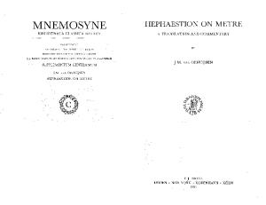 Hephaestion on metre : with the corresponding sections from Aristides Quintilianus' On Music : a translation and commentary