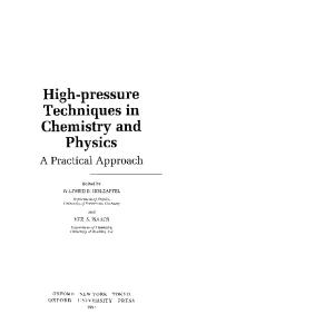 High Pressure Techniques in Chemistry
