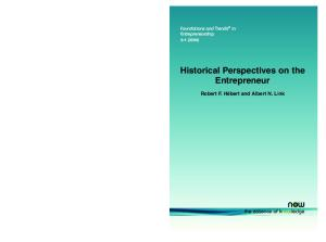 Historical Perspectives on the Entrepreneur (Foundations and Trends in Entrepreneurship)