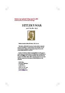 Hitler's War and the War Path