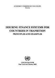 Housing Finance Systems for Countries in Transition: Principles and Examples
