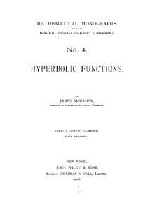 Hyperbolic Functions, Fourth Edition