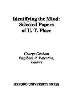 Identifying the Mind: Selected Papers of U. T. Place (Philosophy of Mind Series)