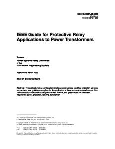 IEEE Guide for Power Transformer Protection