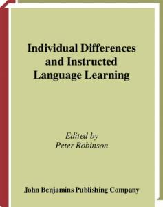 Individual Differences and Instructed Language Learning (Language Learning & Language Teaching)