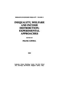 Inequality, Welfare and Income Distribution: Experimental Approaches, Eleventh Edition (Research on Economic Inequality)