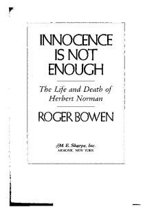 Innocence is Not Enough: Life and Death of Herbert Norman