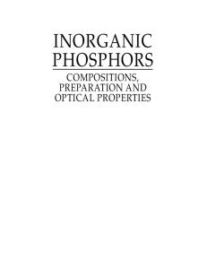 Inorganic Phosphors Compositions Preparation and Optical Properties