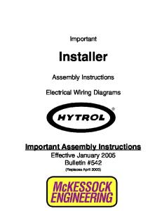 Installer Electrical Wiring Diagrams. Important Assembly Instructions