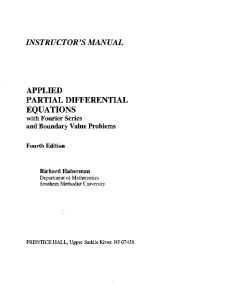 Instructor Solutions - Applied Partial Differential Equations