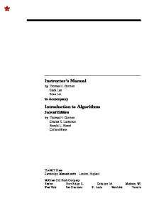 Instructor's manual for Introduction to algorithms