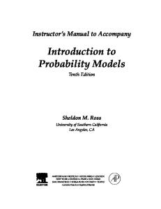 Instructor's Manual to Accompany Introduction to Probability Models Tenth Edition