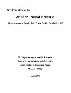 Instructors Solution Manual to Artificial Neural Networks