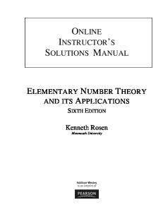 Instructor's Solutions Manual for Elementary Number Theory and Its Applications, 6th Ed