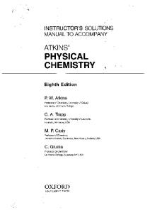 Instructor's Solutions Manual to Accompany '' Atkins' Physical Chemistry ''