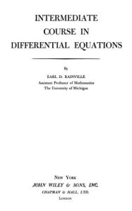 Intermediate Course in Differential Equations