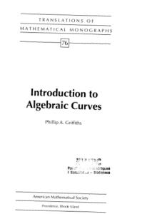 Introduction to Algebraic Curves