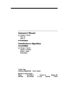 Introduction to Algorithms, Second Edition  Solution Manual
