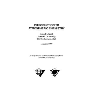 Introduction to atmospheric chemistry