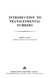 Introduction To Transcendental Numbers